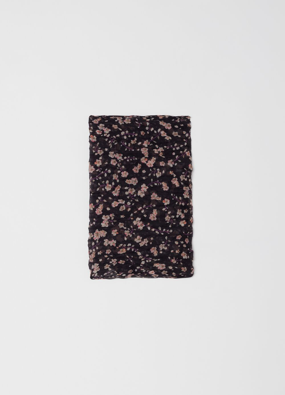 Crinkle pashmina with floral pattern