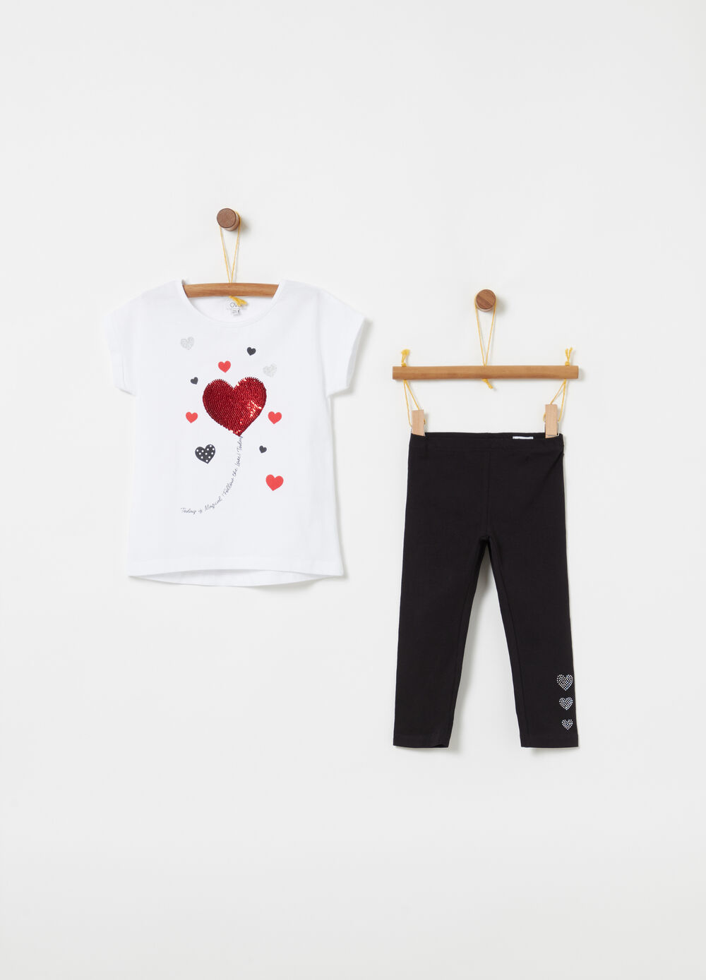 Jogging set t-shirt leggings strass stampa