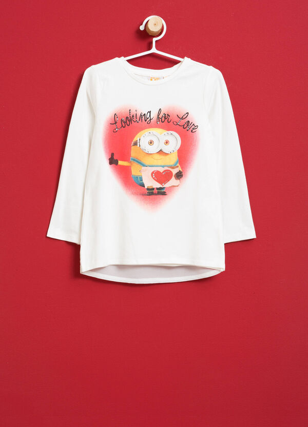 T-shirt cotone stretch Minions e strass