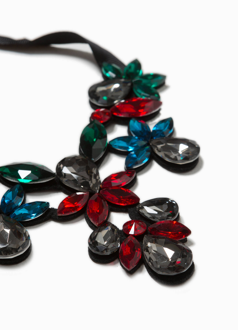 Collana floreale strass in vetro image number null