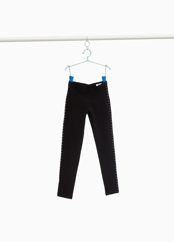 Stretch cotton leggings with studs