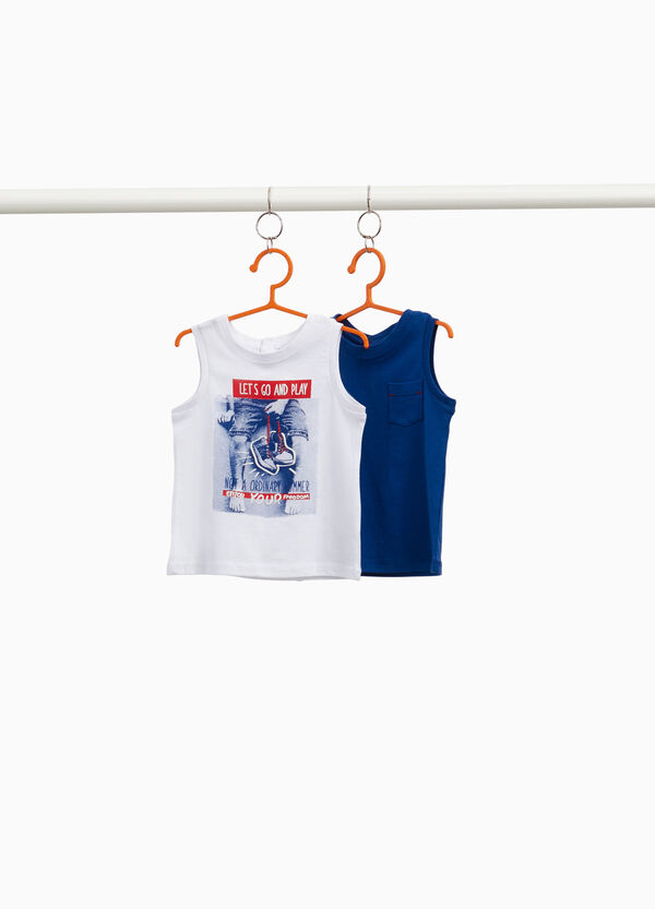 Two-pack vest tops with pocket and print