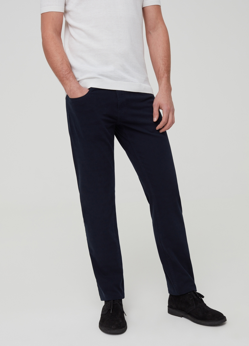Stretch cotton trousers with five pockets image number null