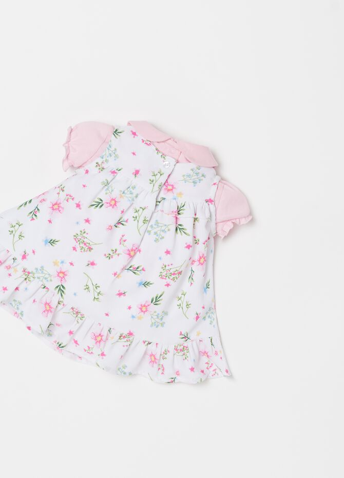 Floral T-shirt and pleated dress set
