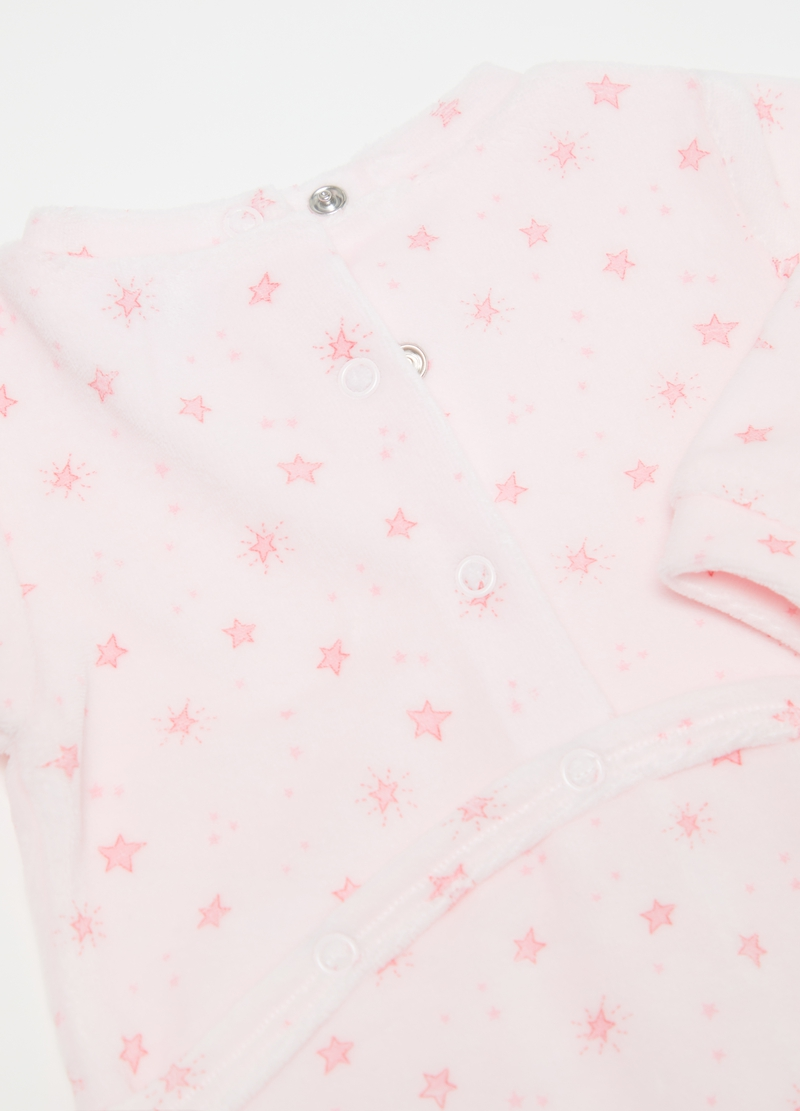 Onesie with feet and small stars pattern image number null