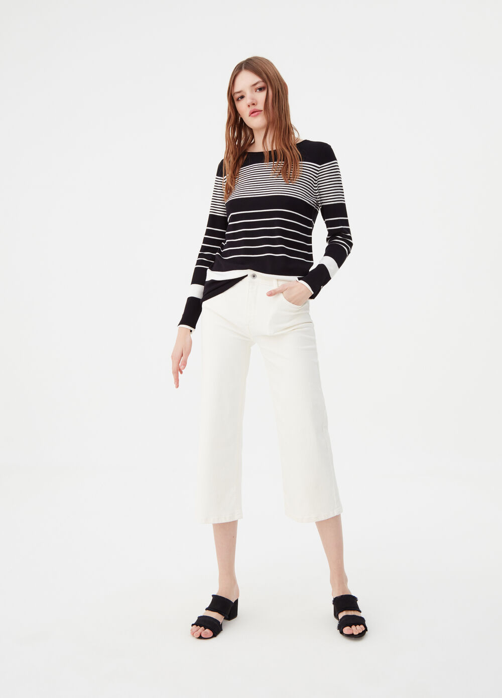 Striped knit top with buttons