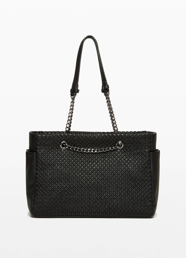 Shoulder bag with diamond weave