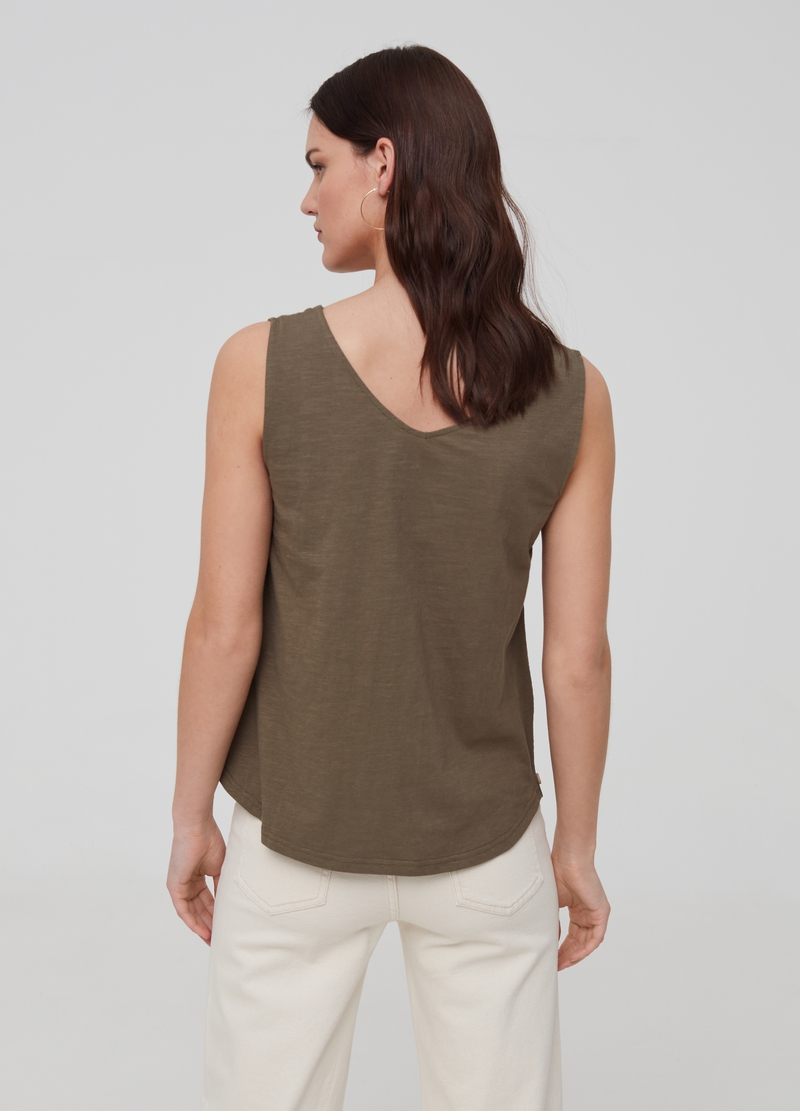 Cotton tank top with side buttons image number null