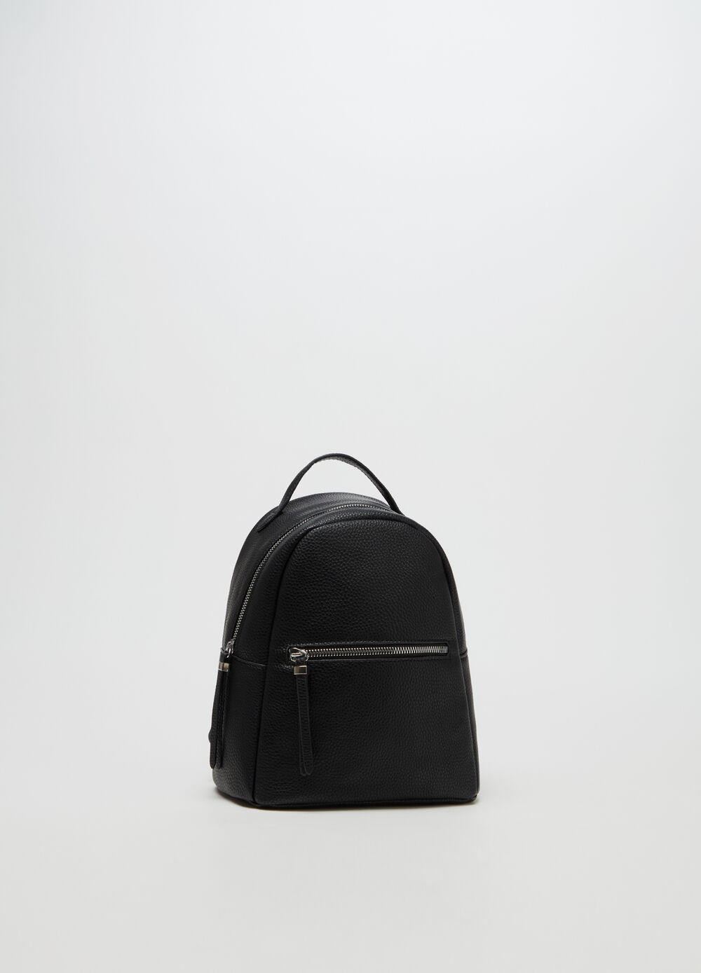 Textured-effect leather-look backpack with zip