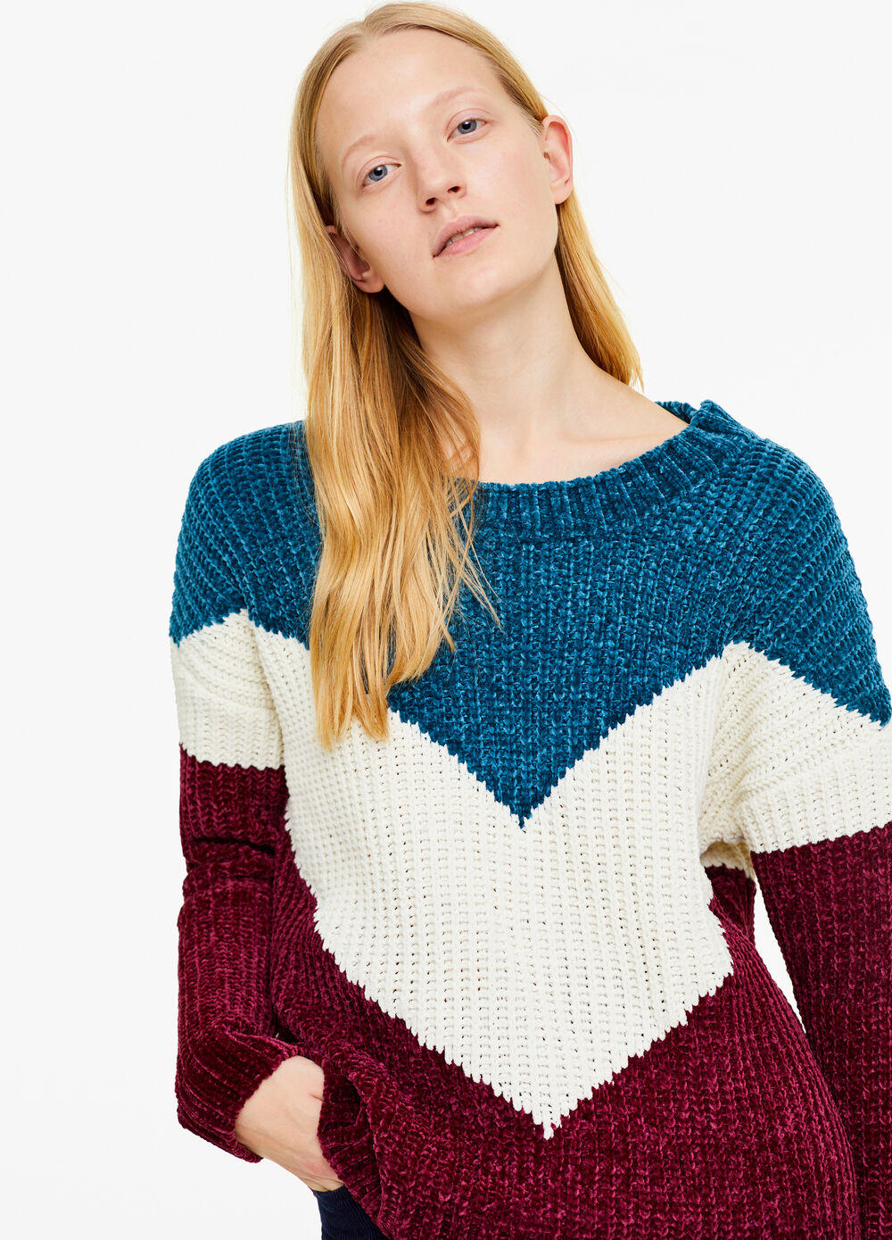 Two-tone pullover with geometric insert