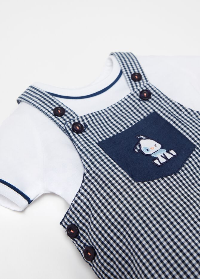 Micro check T-shirt and onesie set with embroidery