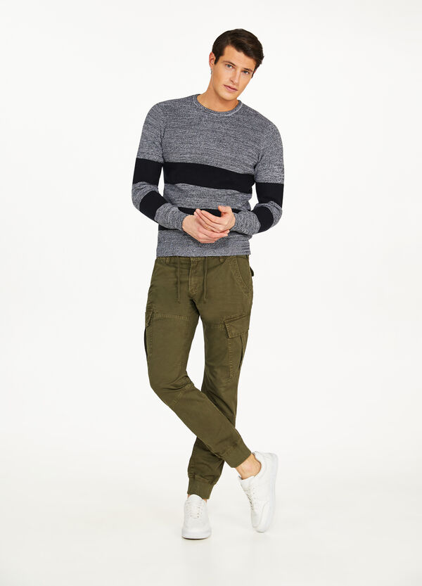 Pantaloni joggers fit cargo in cotone