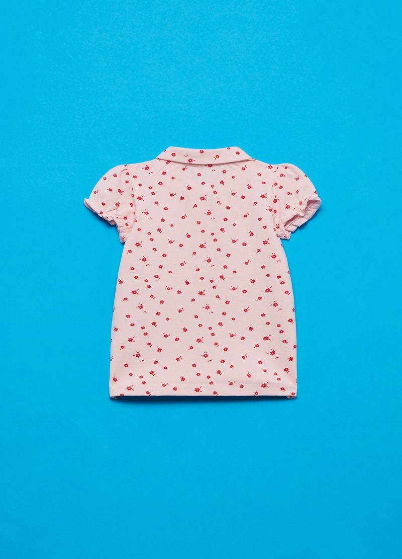 Stretch cotton polo shirt with small flowers image number null