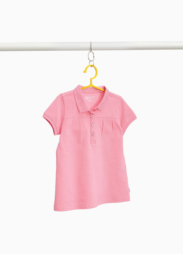 Polo shirt in 100% cotton with pleats and glitter