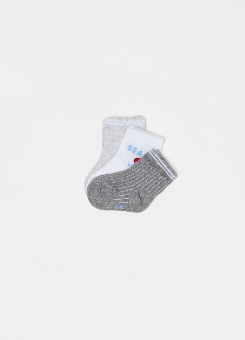 Three-pair pack short socks in cotton blend image number null