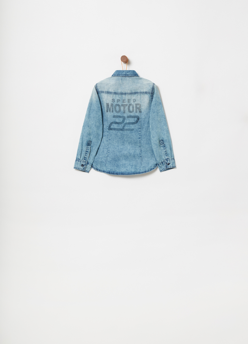 Lightweight denim shirt with embroidery and print image number null