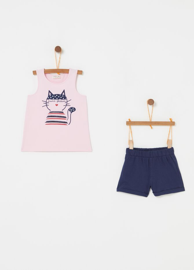 Completo top e shorts con stampa gattino