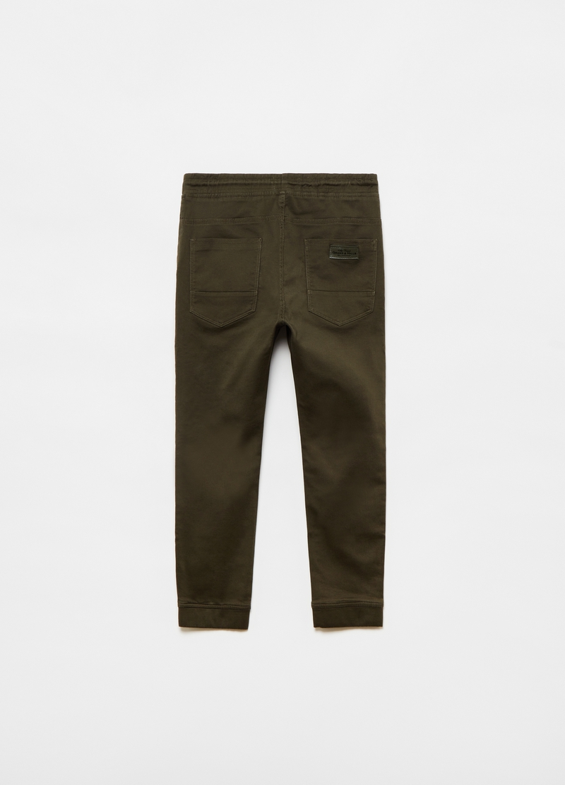 Stretch cotton cuff-hem trousers image number null