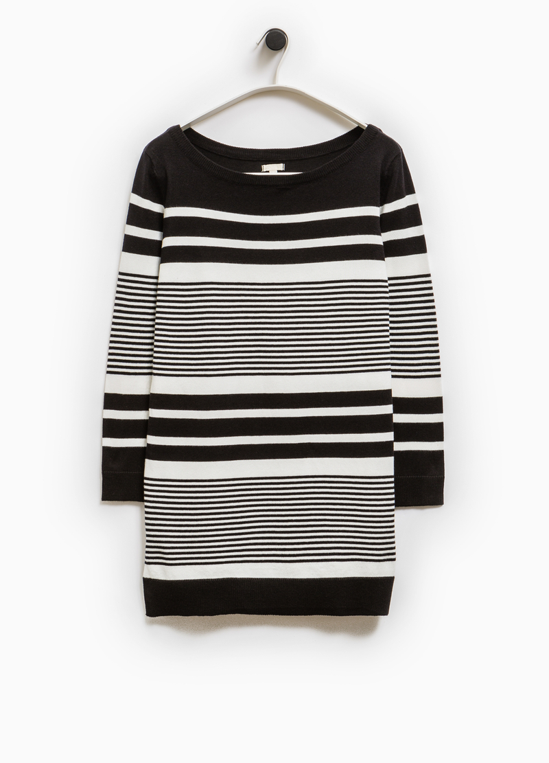 Pullover lungo a righe Smart Basic image number null