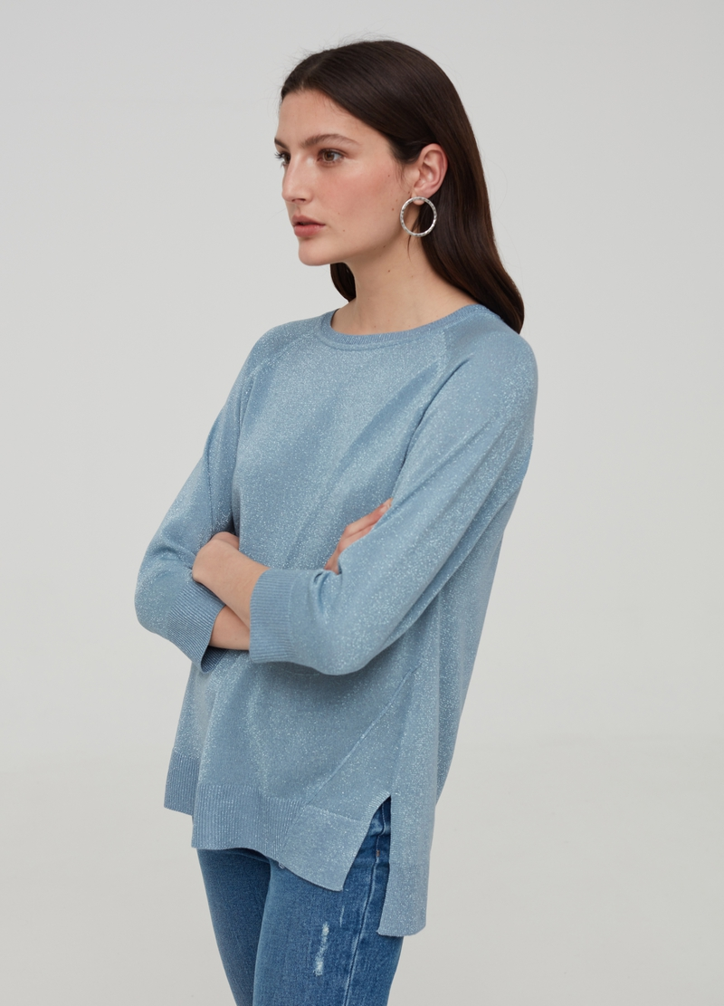 Top with lurex and three-quarter sleeves image number null