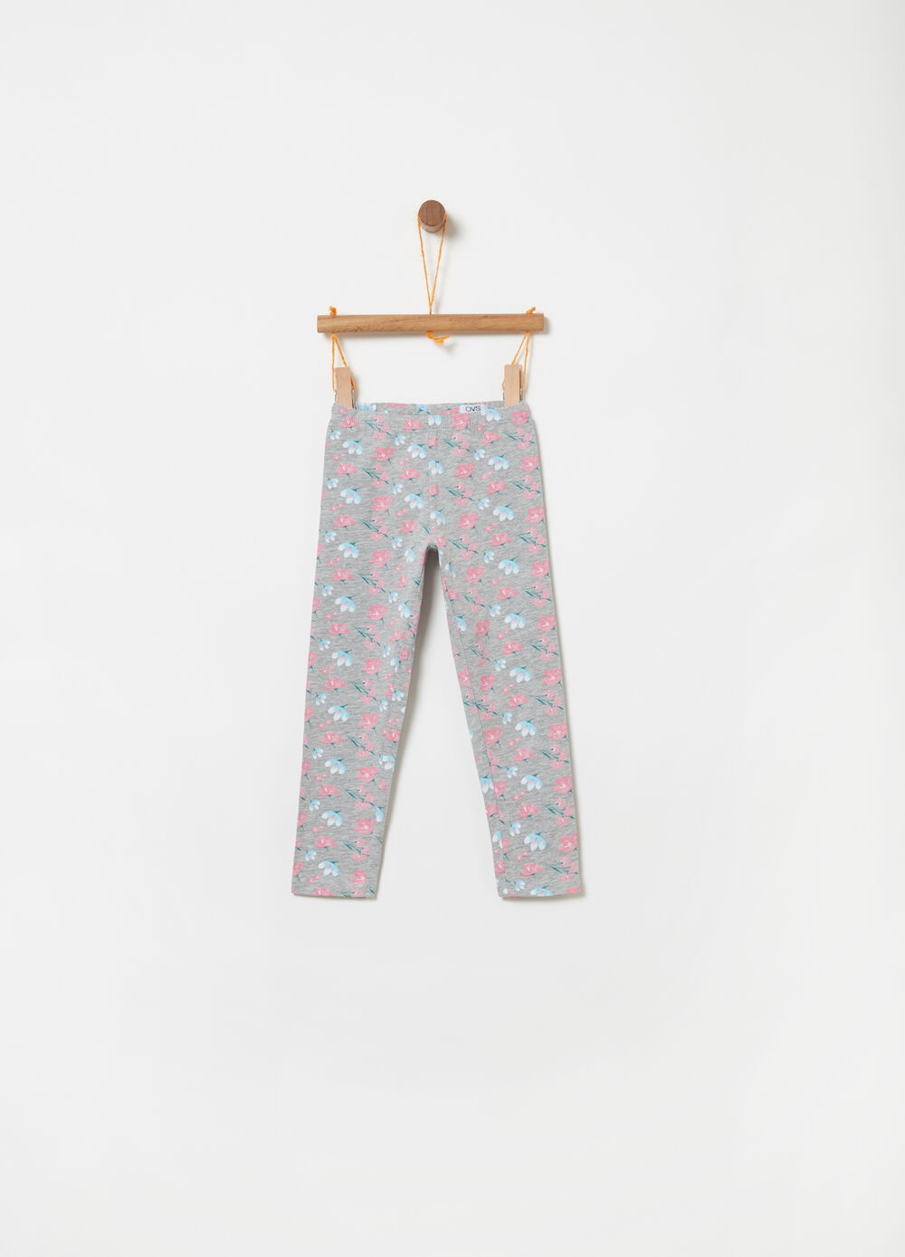 Jersey leggings with floral pattern
