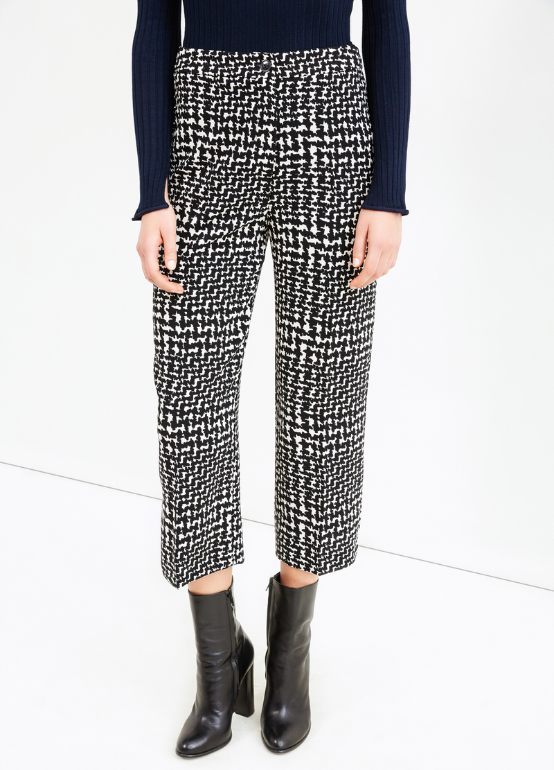 High-waisted, printed cropped trousers image number null