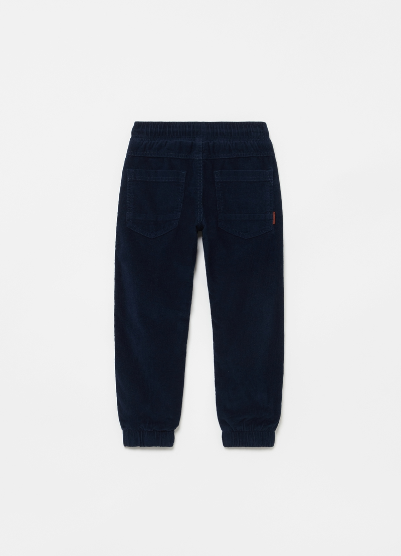 Joggers in corduroy con coulisse e tasche image number null