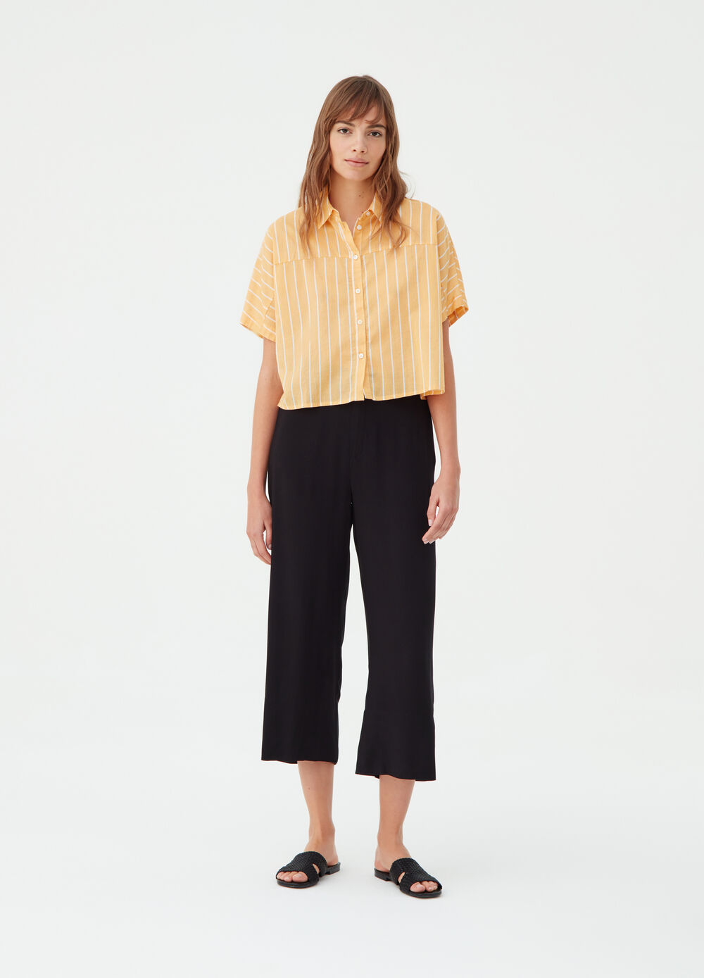 Crop palazzo trousers with pocket