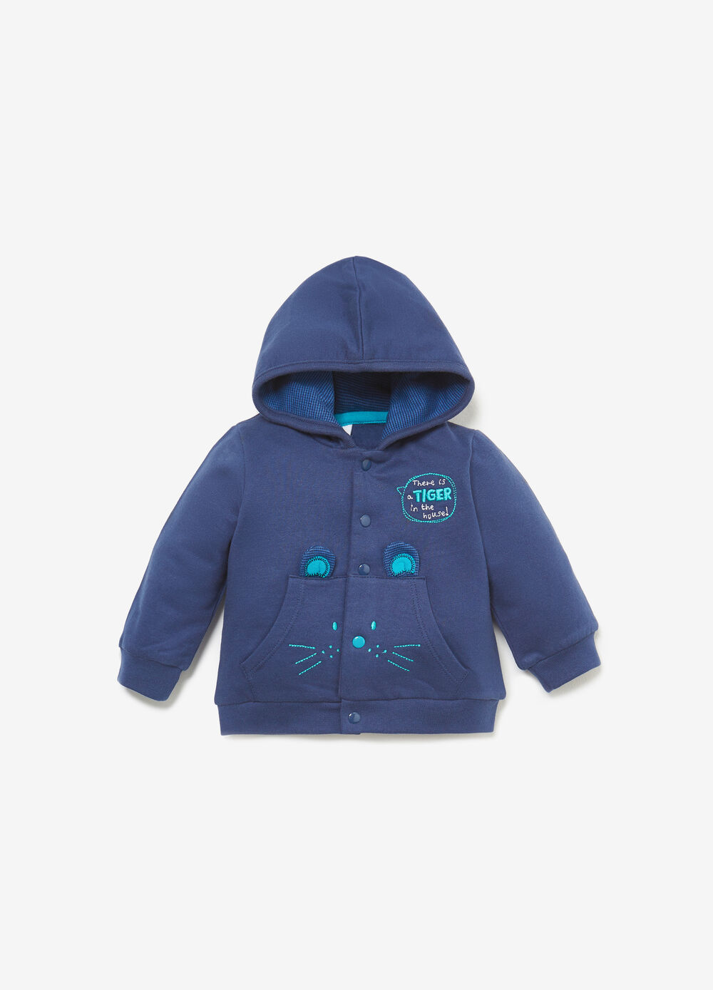 Cardigan with hood embroidery and patches