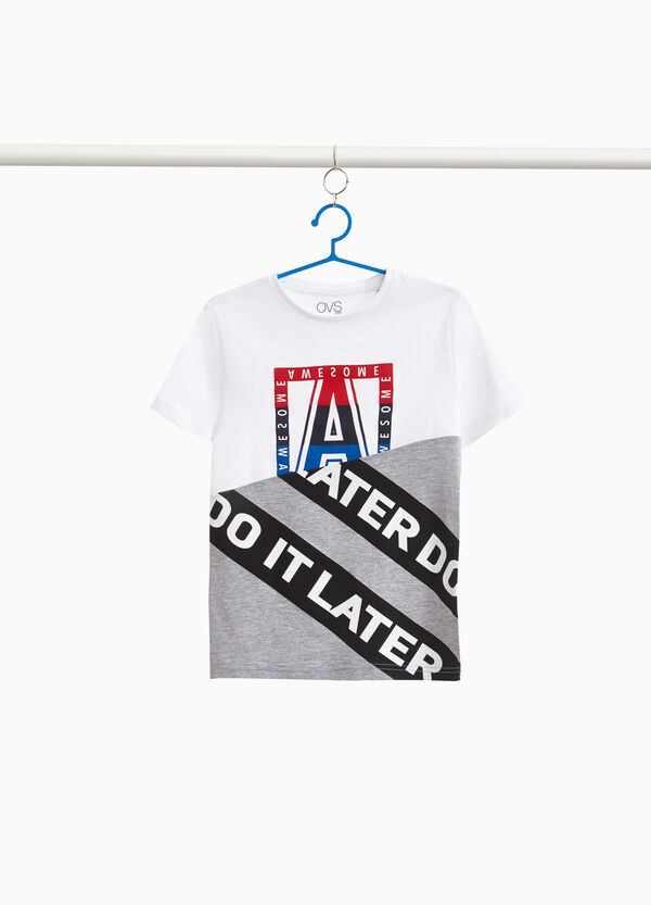 Two-tone T-shirt with maxi lettering print