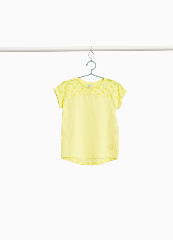 Polka dot patterned T-shirt in 100% cotton