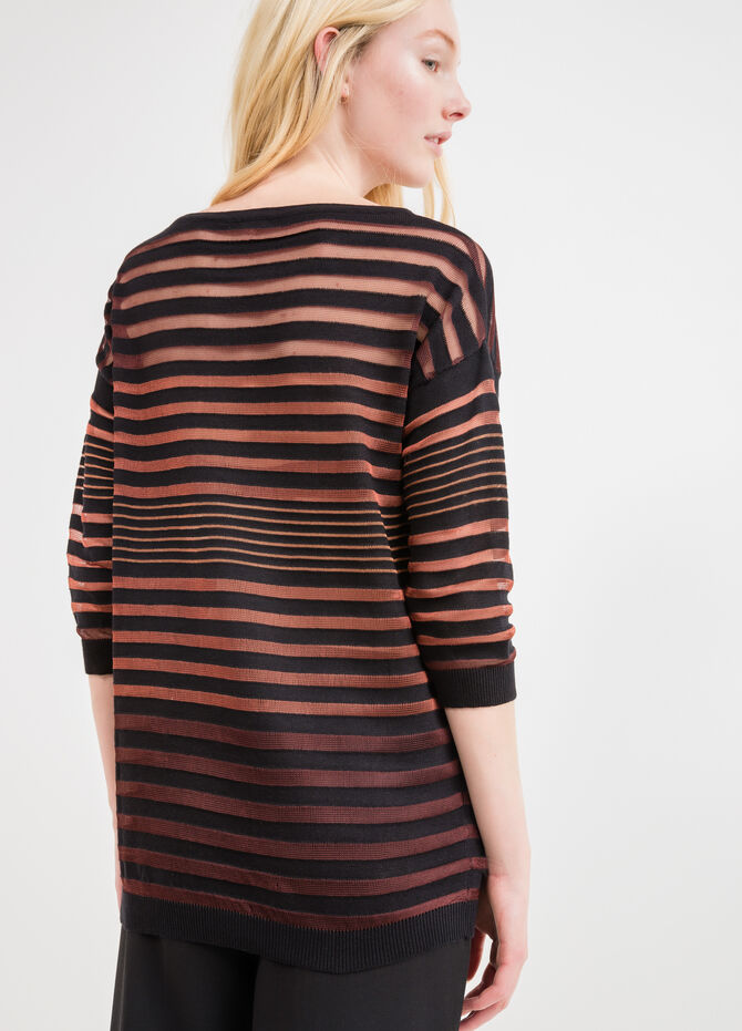 Pullover with striped openwork