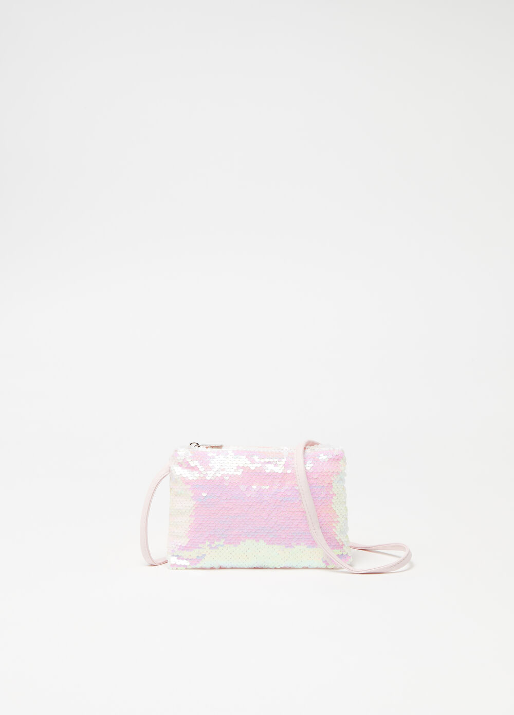 Sequinned shoulder bag with zip