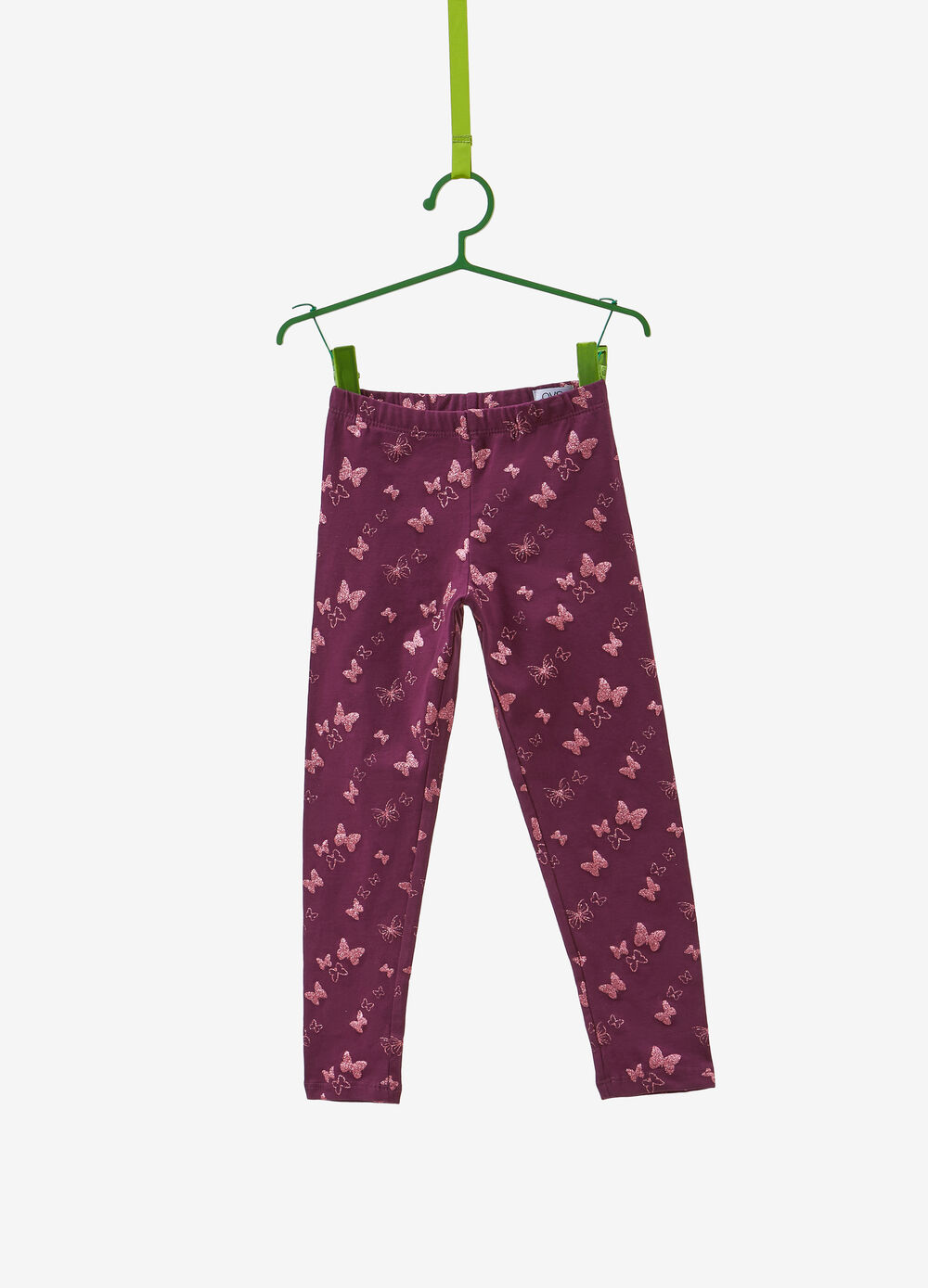 Stretch cotton leggings with glitter butterflies