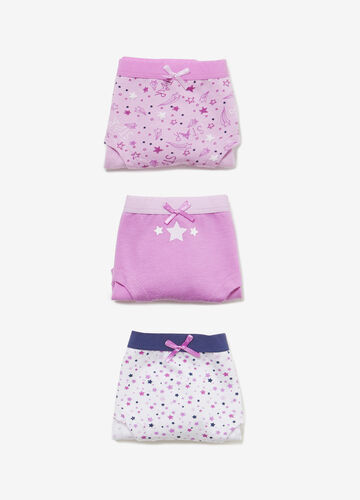 Three-pair pack solid colour and stars stretch French knickers