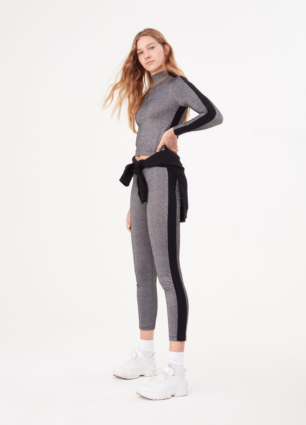 Lurex jersey trousers with side bands