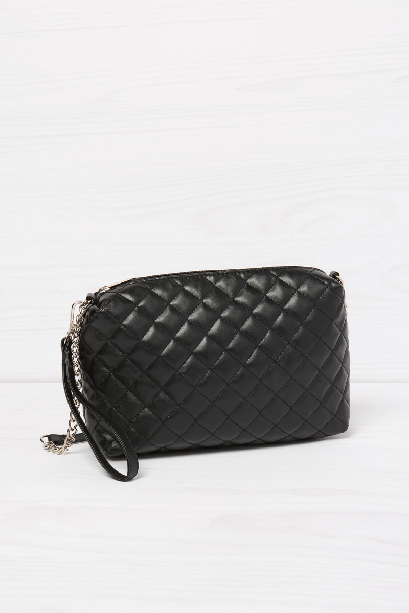 Solid colour quilted mini bag image number null