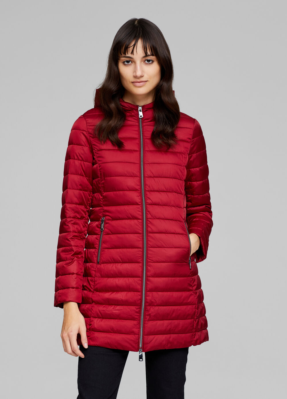 Long solid colour jacket with stitching