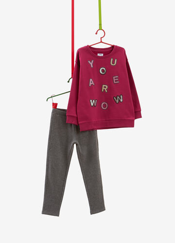 Tracksuit in 100% cotton with patches and sequins
