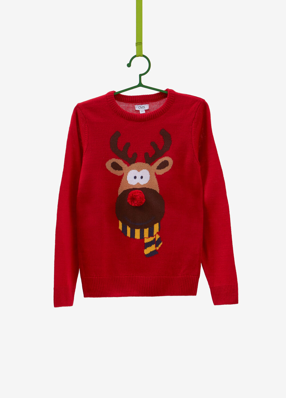 Christmas sweater with reindeer embroidery and pompom