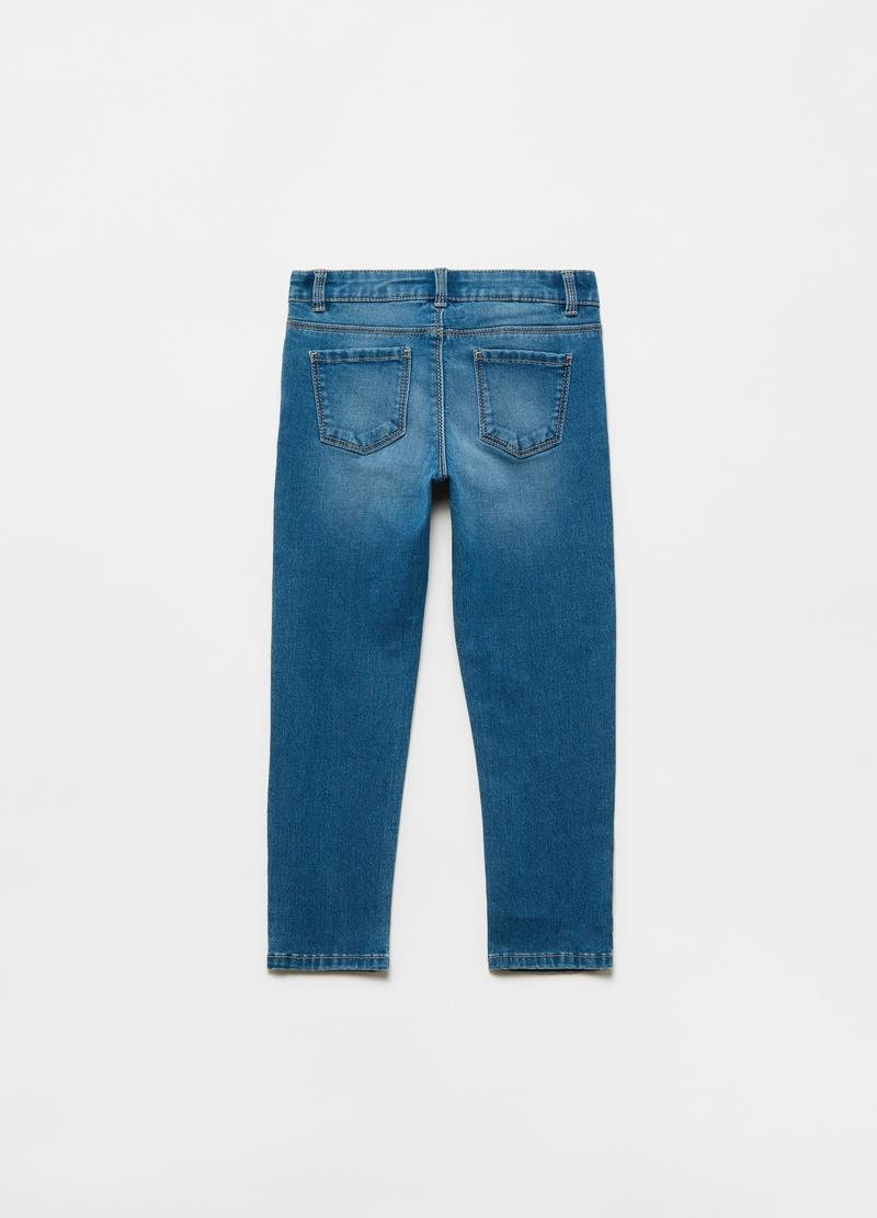 Stretch jeans with five pockets and diamantés image number null