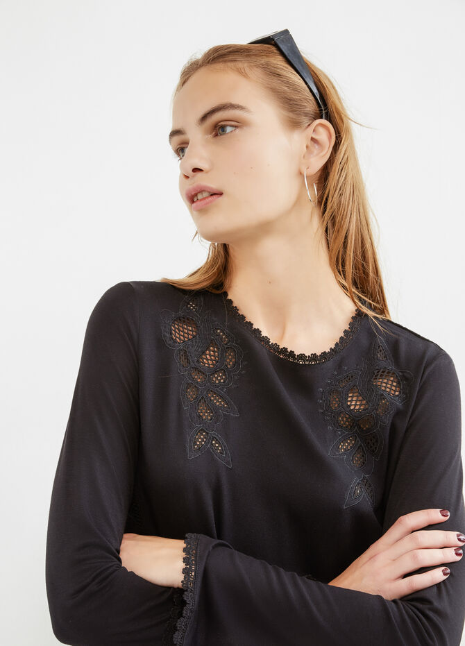 Stretch viscose T-shirt with openwork inserts