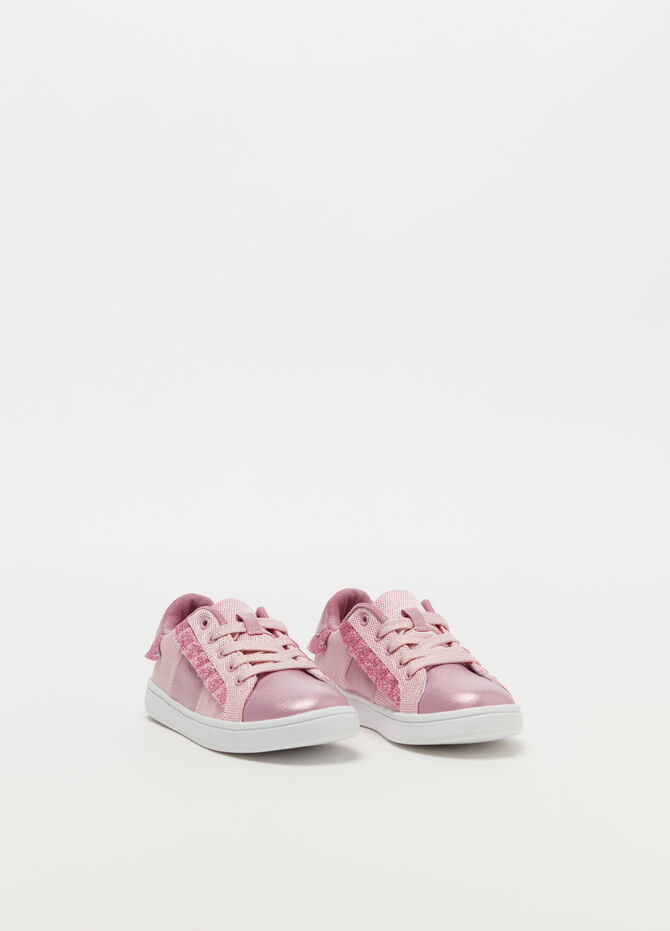 Sneakers with glitter-effect mesh upper