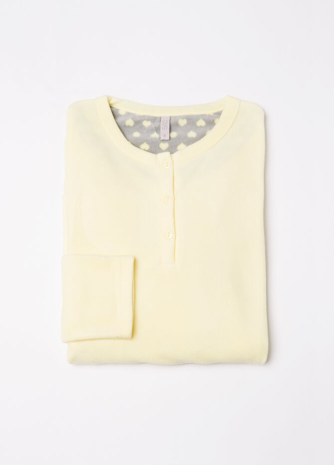 Solid colour fleece pyjama top