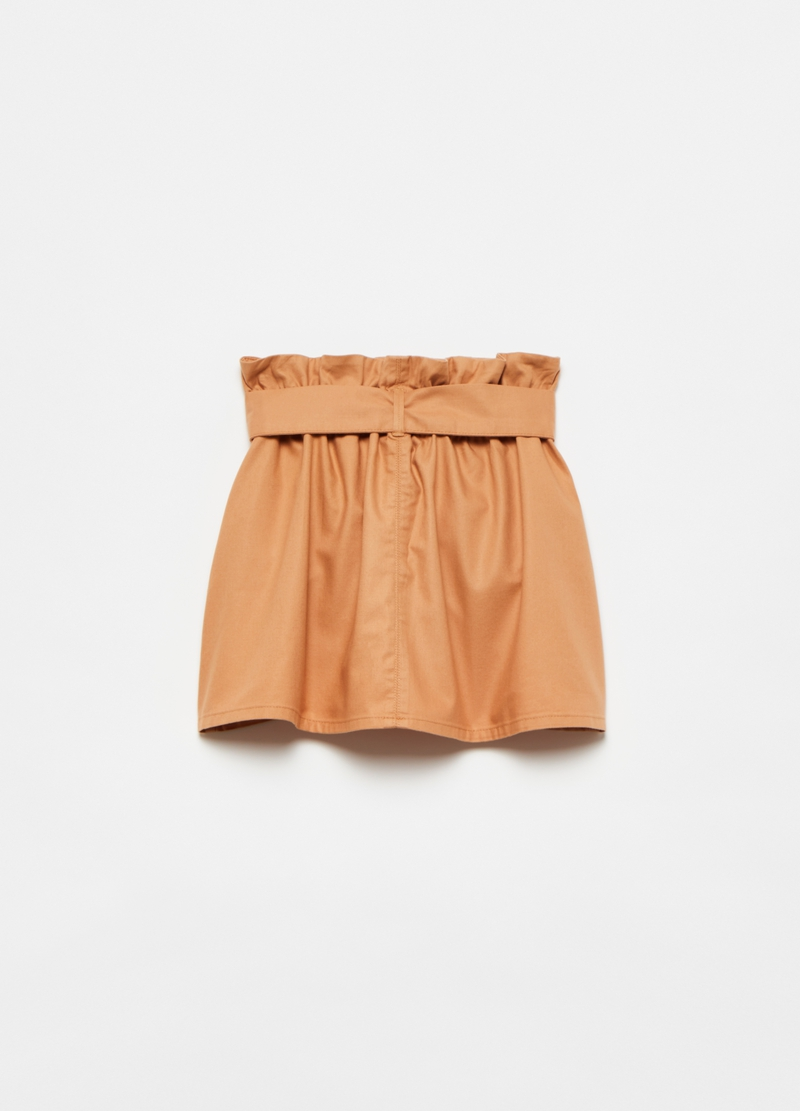 Paper bag skirt in cotton and Lyocell image number null