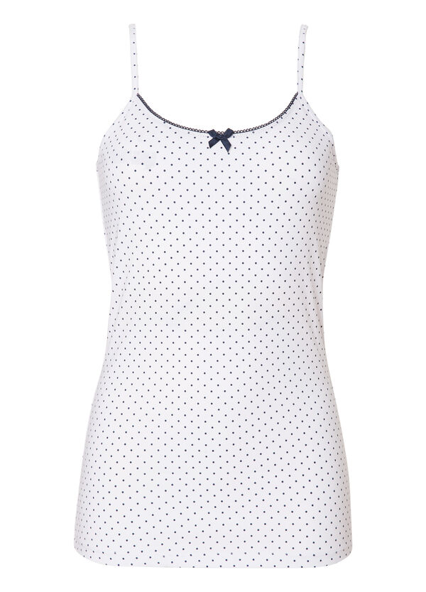 Stretch cotton top with polka dot print. | OVS