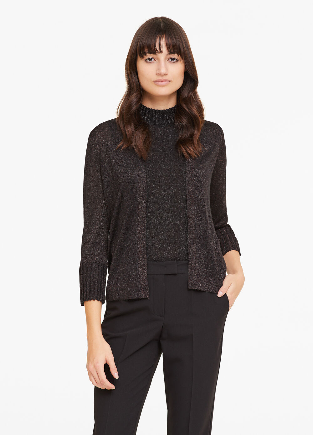 Solid colour cardigan in viscose and lurex