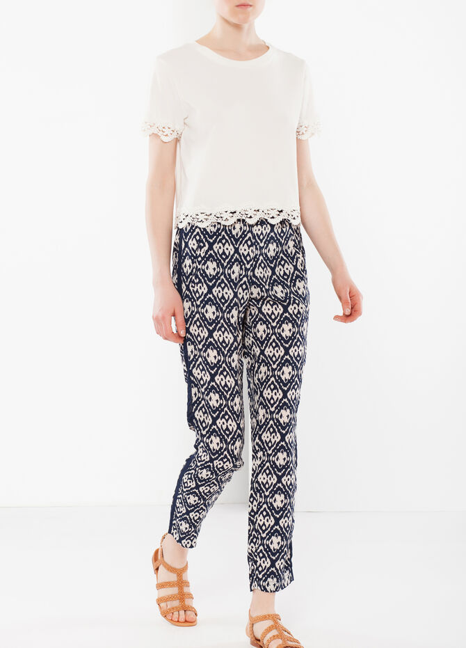 High-waisted trousers with side band