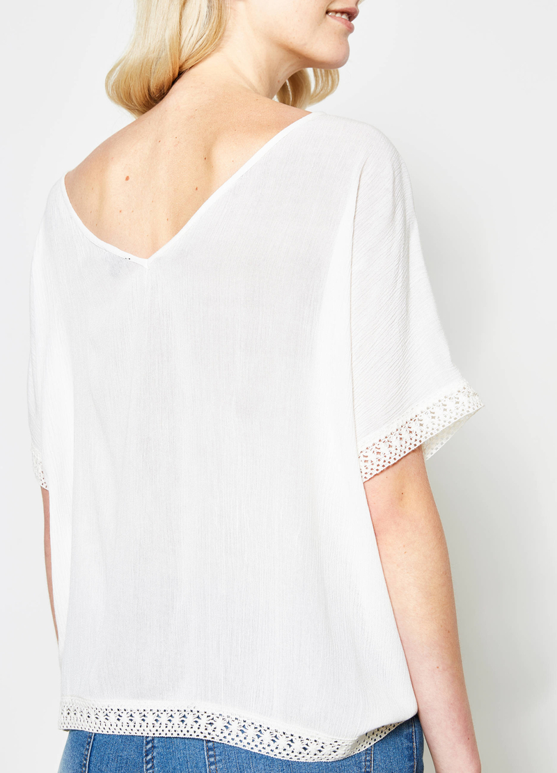 Blouse with laces and trim image number null