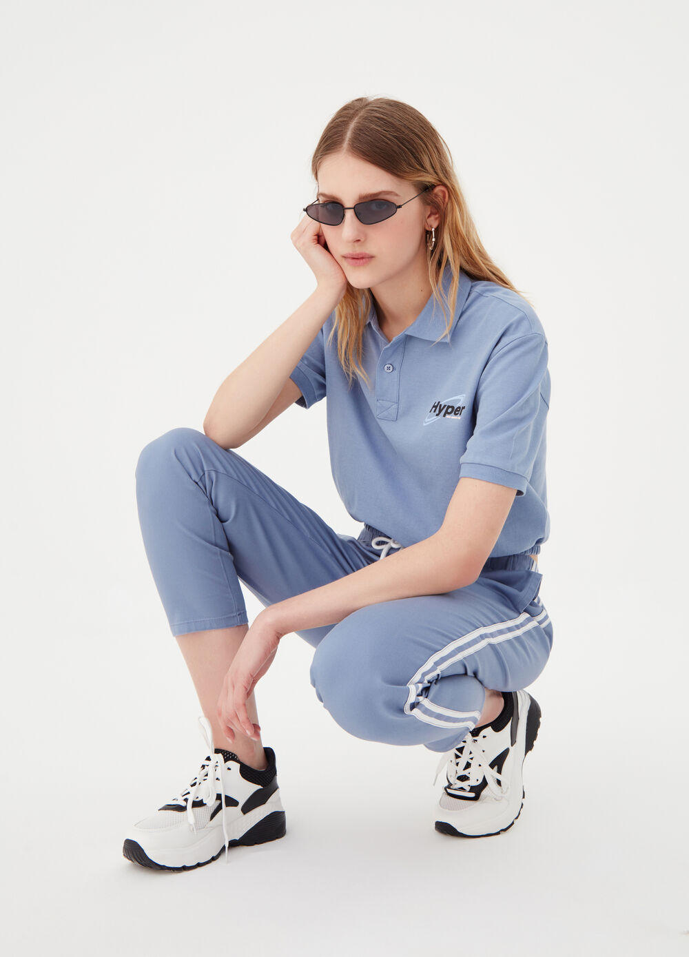 Jogger trousers with contrasting bands